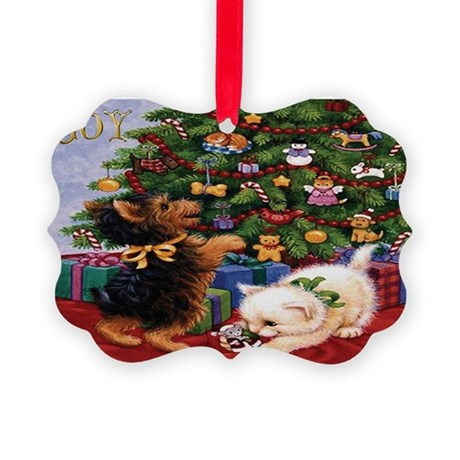 Yorkie & Kitten Picture Ornament