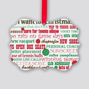 Tennis Holiday Greetings Picture Ornament