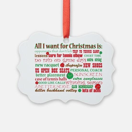 Tennis Holiday Greetings Ornament
