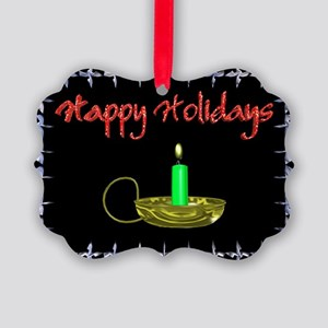 Happy Holidays With a Candle Picture Ornament