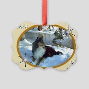 Winter River Sheltie Picture Ornament
