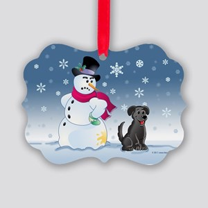 Black Lab and Snowman Picture Ornament