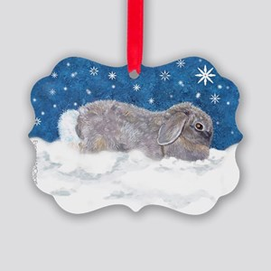 Rabbit in Winter Snow Picture Ornament