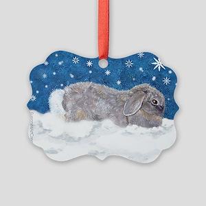 Rabbit in Winter Snow Picture Ornament