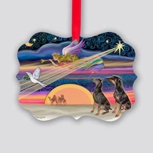 XmasStar/2 Dobies Picture Ornament