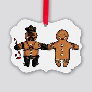 gay gingerbread couple Picture Ornament