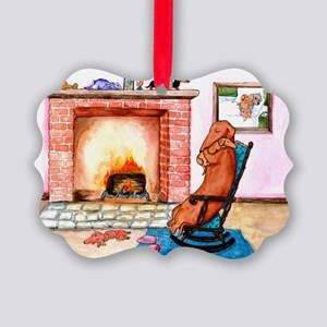 Snuggling Dachshunds Picture Ornament