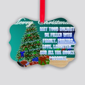 Christmas Hockey Cards & Gifts 2 Picture Ornament