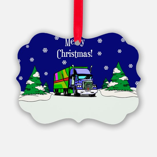 Semi Truck Merry Christmas Ornament