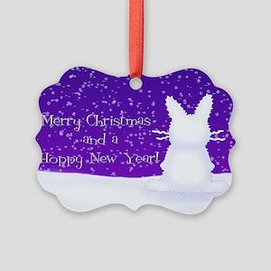 Snow Bunny Picture Ornament
