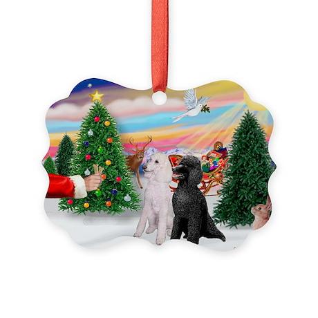 Treat / 2 Poodles (ST) Picture Ornament