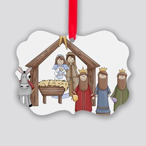 Nativity Scene Christmas Picture Ornament