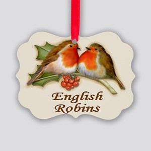 English Robins & Holly Picture Ornament
