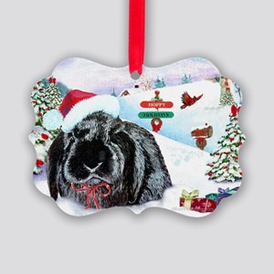 Inky Rabbit Christmas Picture Ornament