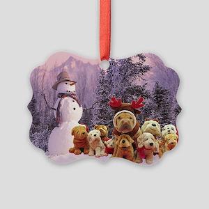 Snowman Shar Pei Picture Ornament
