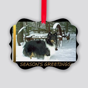 Winter Wagon Sheltie Picture Ornament