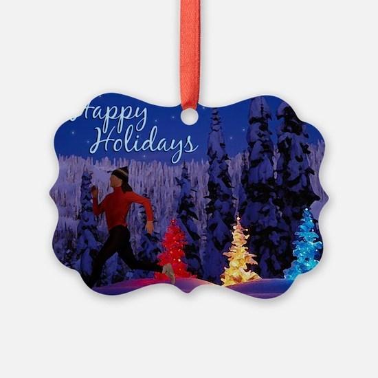 Runner's Holiday Scene (Female Runner) Ornament