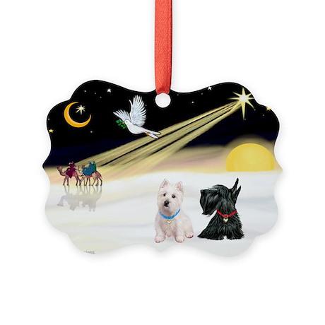 XmasDove/Westie & Scotty Picture Ornament
