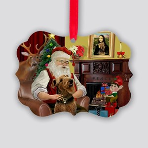 Santa and his Airedale Picture Ornament