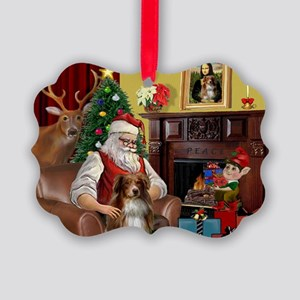 Santa's Aussie (RW4) Picture Ornament