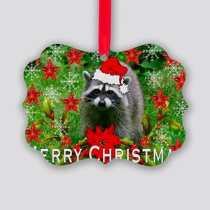 Christmas Raccoon Picture Ornament