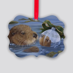 Christmas Otter Picture Ornament