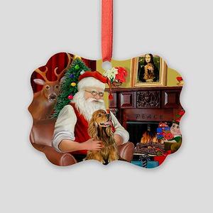 Santa's Cocker (bn) Picture Ornament