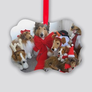 Christmas Collies Picture Ornament