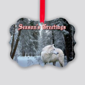 Wolf Christmas Picture Ornament