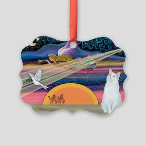 Xmas Star / White Cat Picture Ornament