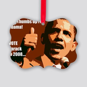 Thumbs Up Obama Picture Ornament