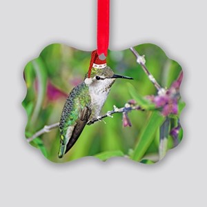 Ho Ho Ho Hummingbird II Picture Ornament
