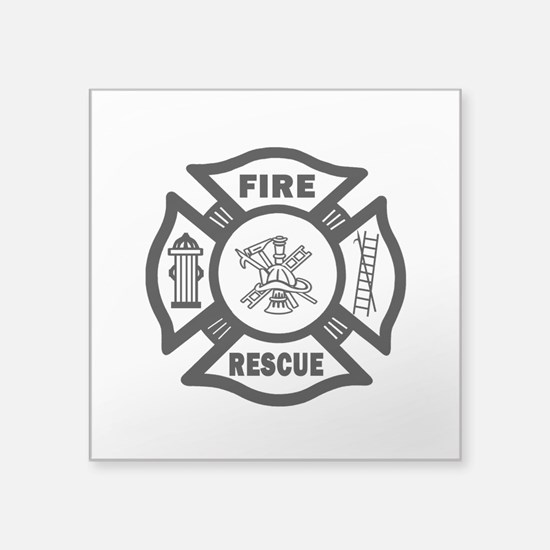 "Fire Rescue Square Sticker 3"" x 3"""
