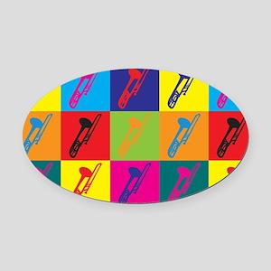 Trombone Pop Art Oval Car Magnet