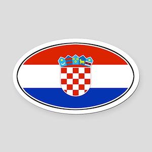 Croatian Oval Flag Oval Car Magnet