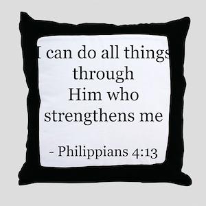 Phillipians 4:13 Throw Pillow