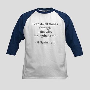 Phillipians 4:13 Kids Baseball Jersey