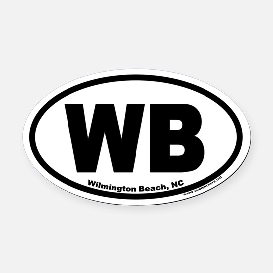 Wilmington Beach WB Euro Oval Car Magnet