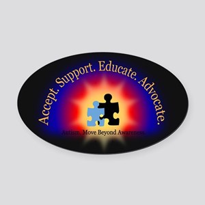 Beyond Awareness (Autism) Dark Oval Car Magnet