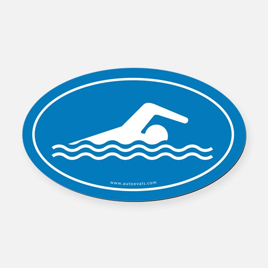 Swimming Auto Decal -Blue (Oval)