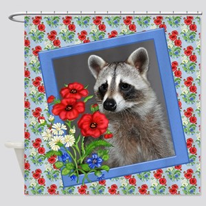 Raccoon portrait Shower Curtain