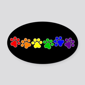 Paw Print Pride Oval Car Magnet