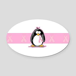Pink Ribbon Penguin Oval Car Magnet