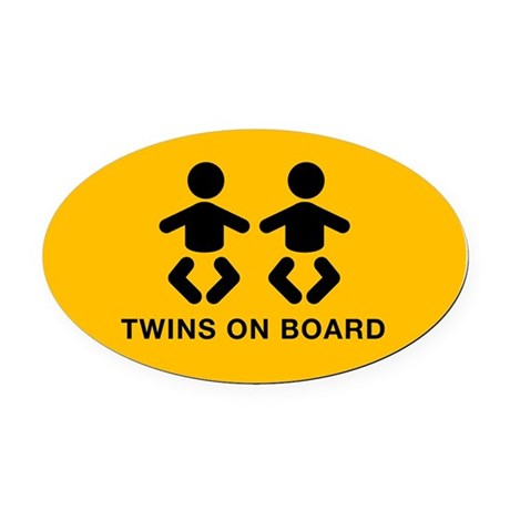 Twins Oval Car Magnet