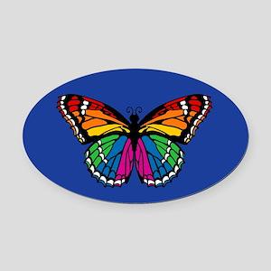 Rainbow Butterfly Oval Car Magnet