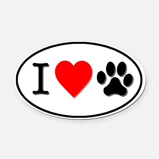 I Heart Paw White Oval Car Magnet (Oval)