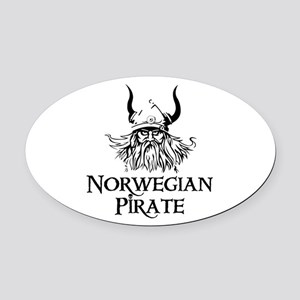 Norwegian Pirate Oval Car Magnet