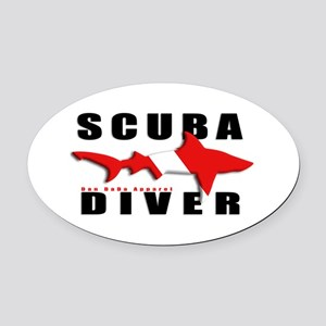Scuba Diver: SHARK Oval Car Magnet