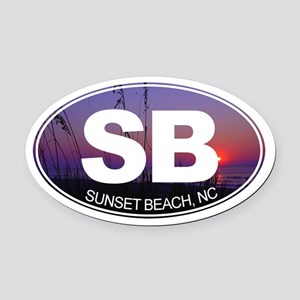 Sunset Beach, NC - Oval Car Magnet