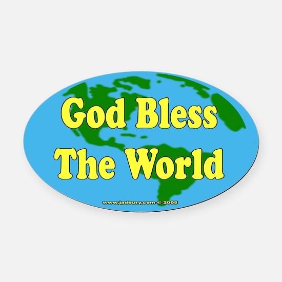 God Bless The World Oval Car Magnet